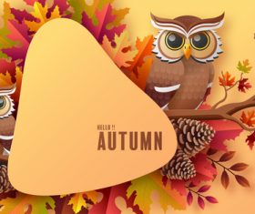 Autumn leaves and owl background cartoon illustration vector