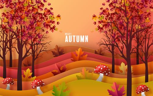 Autumn outdoor scenery background vector