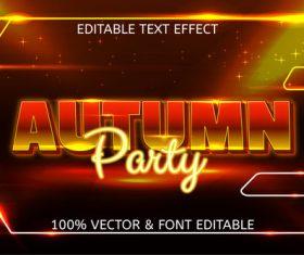 Autumn party editable text effect vector
