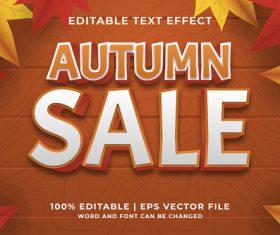 Autumn sales editable text effect vector