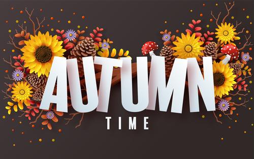 Autumn time card vector