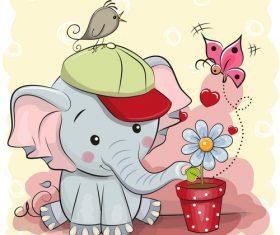 Baby elephant watering flowers cartoon background illustration vector