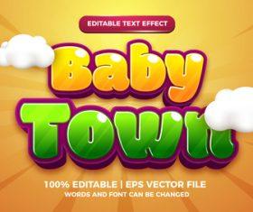 Baby town cartoon comic editable text effect vector