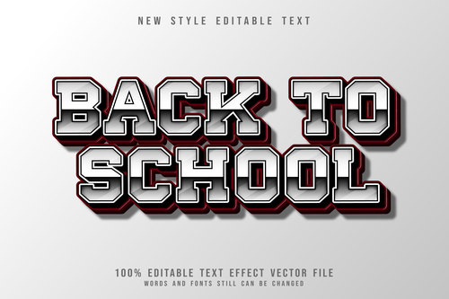 Back to school 3D emboss gradient style vector