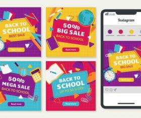 Back to school background mobile phone cover design vector
