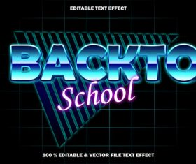 Back to school editable text effect retro style vector