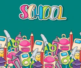 Back to school flyer backpack and scissors vector