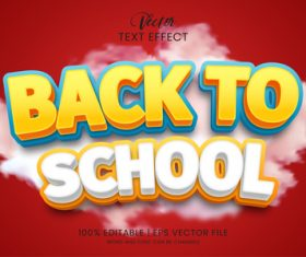 Back to school vector editable text effect