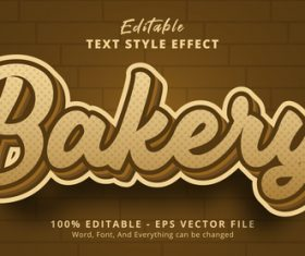 Bakery editable eps text effect vector