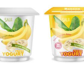 Banana flavor yogurt vector