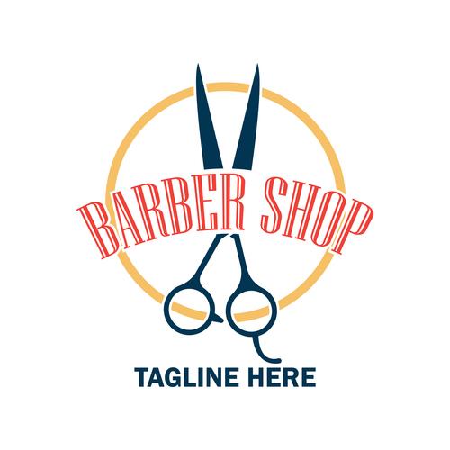 Barber shop logo design vector