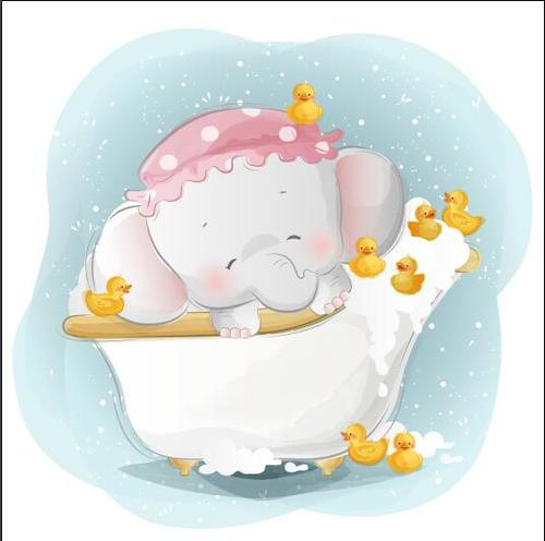 Bathing elephant baby cartoon vector