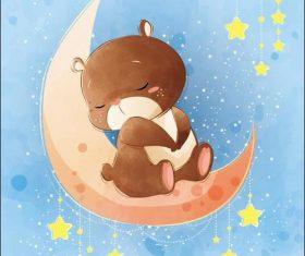 Bear cartoon vector sitting on the moon