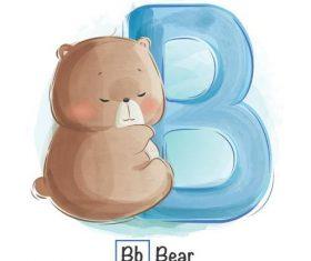 Bear english word cartoon vector