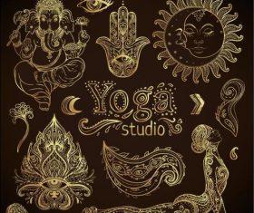 Beautiful 3D golden elements illustration vector