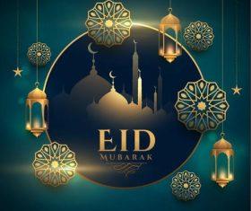 Beautiful Eid Mubarak greeting card vector