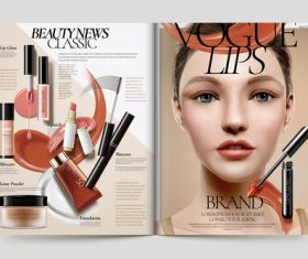 Beautiful woman magazine cover vector