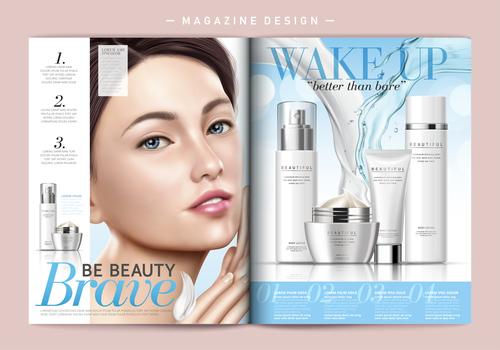 Beauty makeup magazine cover vector