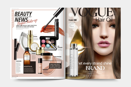 Beauty news magazine cover vector