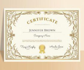 Beige graduation certificate design template vector
