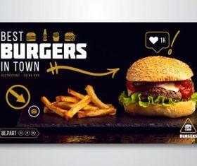 Best burgers in town flyer vector