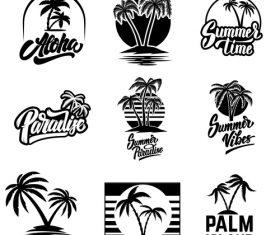 Black and white summer logo vector