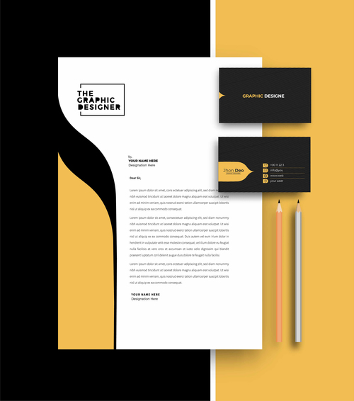 Black and yellow business letterhead and business card vector