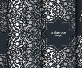 Black arabesque design background vector