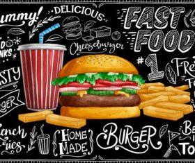 Blackboard background with burger vector