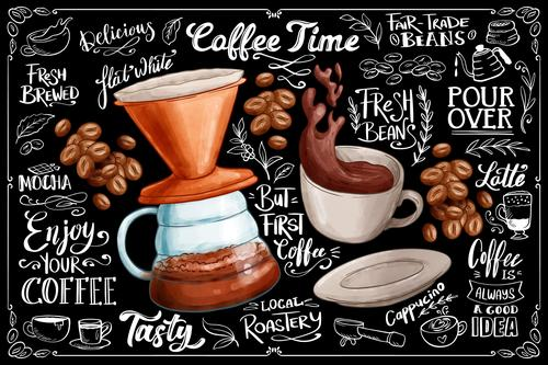 Blackboard background with coffee vector