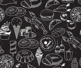 Blackboard food painting background vector