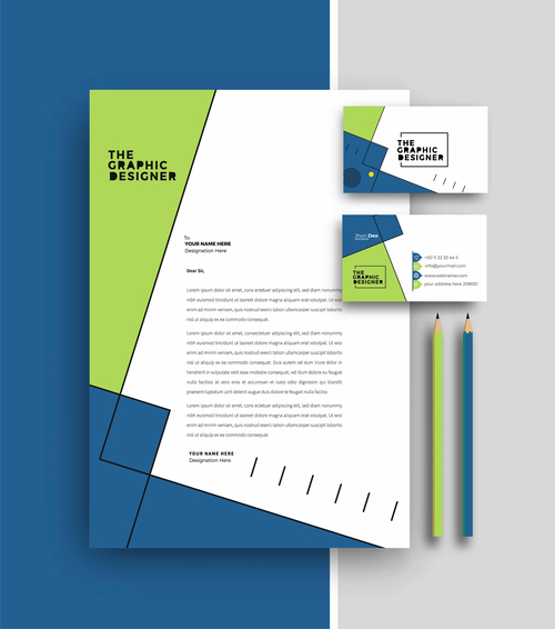 Blue and green business letterhead and business card vector
