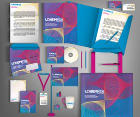 Blue and red line background business template vector