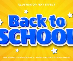Blue back to school vector editable text effect
