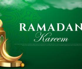 Blue background ramadan greeting card vector