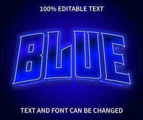 Blue editable text effect modern style vector