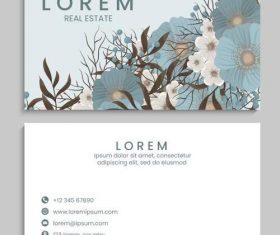 Blue flower background business card vector