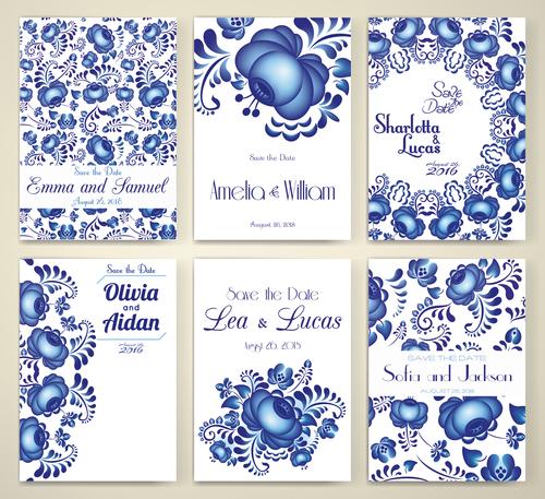 Blue flower background invitation card vector