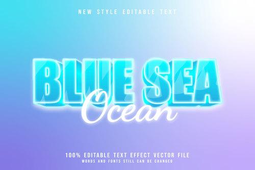 Blue sea ocean 3D emboss blue style vector