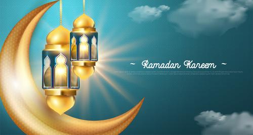 Blue sky background Ramadan kareem card vector