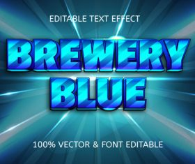 Brewery blue style comic editable text effect vector