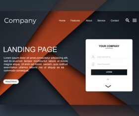 Brown and black website landing page vector