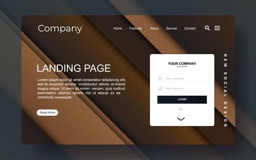 Brown corporate website landing page vector
