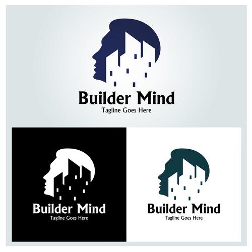 Builder mind logo design vector