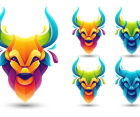 Bull head origami logo vector
