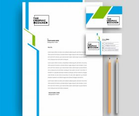 Business letterhead with business card templates design vector illustration