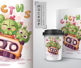 Cactus cartoon sale mockup print t-shirt vector