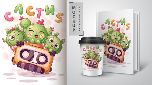 Cactus cartoon sale mockup print t shirt vector