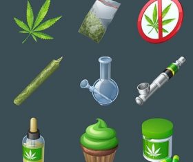 Cannabis production equipment icons vector