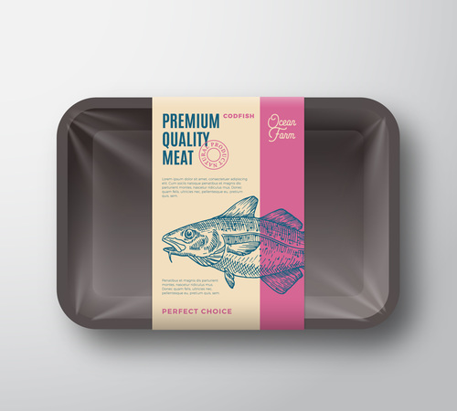 Canned fish label design vector